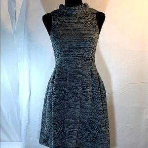 GANNI Knit Ruched Neck Sleeveless Fit Flare Dress
